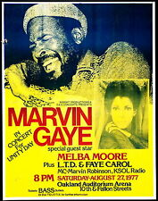 Music Poster Reprint Marvin Gaye at Oakland Auditorium 1977