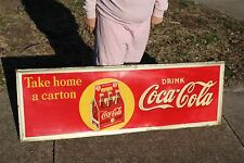 "Rare Large Vintage 1930's Coca Cola Soda Pop Gas Station 54"" Embossed Metal Sign"