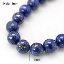 25 x Natural Lapis Lazuli Semi -Precious Beads - 6mm - LB1037