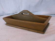 Antique Wooden Primitive Tool Caddy Tray Wood Tote Handled Utensil Box