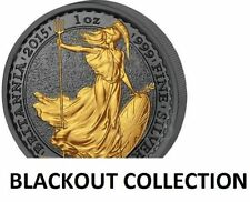 2015 Britannia BLACKOUT 1 oz 999 silver coin Ruthenium & 24K Gold 2 Pound Brexit