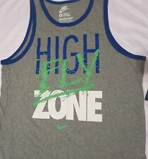 "Men's NIKE XL Gray ""HIGH FLY ZONE"" Regular Fit Training Tank Top Shirt 644365"