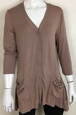 LOGO by Lori Goldstein V-Neck Knit Cardigan With Pockets Chamomile Taupe Sz XS