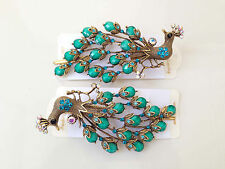 Peacock Rhinestone Beads Metal Hair Clip Pin in Turquoise, 1 pair