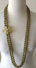 GERARD YOSCA Double Strand Green Acrylic Beads Green Magnetic Flower Clasp 37""