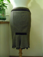 KAREN MILLEN WIGGLE SKIRT SIZE 10 WOOL CASHMERE SILK BROWN CHECK SMART DOGTOOTH