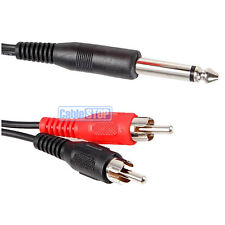 "SHORT 15cm 6.35mm MONO 1/4"" Jack to 2 RCA PHONO Male Plugs Cable Audio Lead"