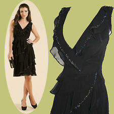 MONSOON Black Vinnie Embellished Flattering Cocktail Dress UK 10  EU 38 £120