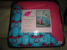BETSEY JOHNSON TWIN LOVE BIRDS FLAMINGO REVERSIBLE WHIMSICAL COMFORTER SET NWT