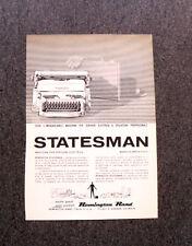 M148- Advertising Pubblicità -1960- REMINGTON STATESMAN MACCHINA PER SCRIVERE