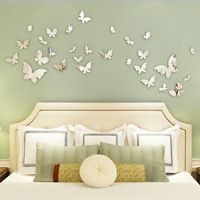 Silver Mirror Wall Art Wall Stickers Decal 3D Butterflies  Home Decors Pretty
