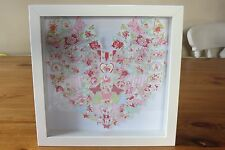 Handmade wall hanging picture shabby chic BUTTERFLIES IN HEART SHAPE box frame