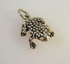 .925 Sterling Silver 3-D Bumpy FROG/TOAD CHARM NEW Pendant Bullfrog 925 NT20