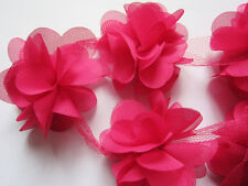 Flower Petals Chiffon Leaves Trim - Wedding Dress Bridal Lace Fabric -by yard