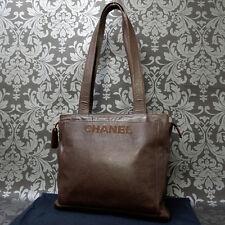Rise-on CHANEL CAVIAR SKIN Brown Shoulder bag Handbag #1380