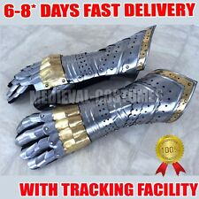 Gauntlet Gloves Armor Pair w/ Brass Accents Medieval Knight Crusader Steel RD306