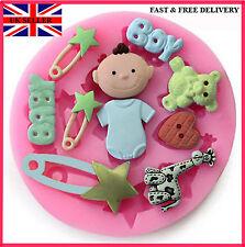 Molde Molde de Silicona para Decoración de Pasteles Fondant Cumpleaños Bautizo del bebé niño ducha