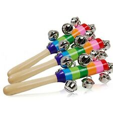 New For Baby's 10-Bell Jingle Rainbow Shaker Stick Musical Instrument Toy JJ