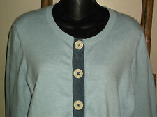 BODEN~Pale LIGHT BLUE~Cardigan SWEATER~Cotton Blend~STRETCH~Big Buttons~Size 18