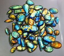 500CT TOP QUALITY NATURAL MULTI FIRE LABRADORITE WHOLESALE LOT CABOCHON GEMSTONE