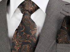 Nouveau design italien black & brown paisley cravate & mouchoir
