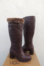 UGG AVERY BROWN WATER-RESISTANT LEATHER SHEEPSKIN BOOTS, US 7/ EUR 38 ~NIB