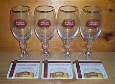 STELLA ARTOIS 4 CHALICE GLASSES 40cl & CRAFTED FOR HOLIDAYS COASTERS SET NEW