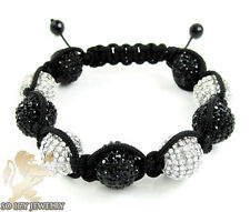 14 mm Mens Big Macramé Bead Ball Black Rhinestone Crystal Rope Bracelet