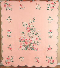 WELL QUILTED Vintage 40's Dogwood Tree Applique Antique Quilt ~BEST OF KIND!