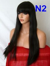 Dark Brown Wig natural long straight party FULL WOMEN LADIES FASHION HAIR WIG N2