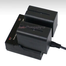 Dual Charger +2x Battery for Sony NP-F970 NP-F960 CCD-SC CCD-TR CCD-TRV 7800mAh
