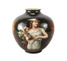 Royal Bonn Hand Painted Porcelain Ginger Jar form Vase Young woman c 1920
