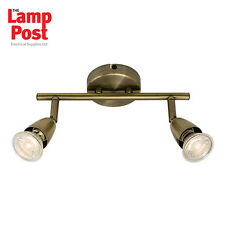 Saxby 60999 Amalfi 2 Light Twin Spotlight Bar Ceiling Mounted Antique Brass