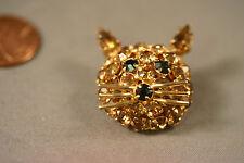 Vtg Gold tone WARNER Signed Cat Kitty Sparkling Topaz Rhinestones Brooch Pin