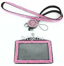 Mix-Colors Rhinestone LANYARDs with Retractable Reel and Horizontal Badge Holder