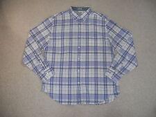 Mens Shirt- J.CREW Madras-purple/white plaid 100% cotton ls-XL