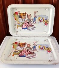 Vintage Set ANIMALS WATCHING CLOWN ON TV Kitch Retro Metal TV LAP TRAY 1960s FUN