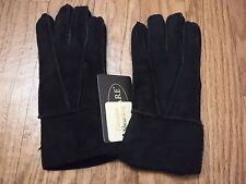"""ALTARE Black Color Genuine Shearling Leather & Rear Fur Lining Gloves """"NWT"""""""