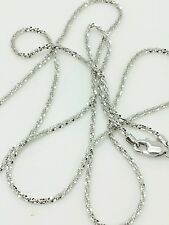 "14k Solid White Gold Diamond Cut Sparkle Necklace Chain 20"" 1.1mm"