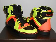 Auth GUCCI Men's Neon Leather High-Top Sneakers ~ Sz 8G (US 9) ~ $865 NIB