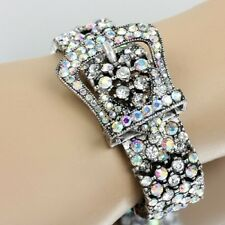 BELT BUCKLE WESTERN COWGIRL JEWELRY BRACELET AB CLEAR BLING RHINESTONE
