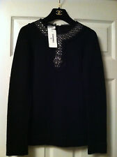 Chanel NEW TAGS 07A Black Cashmere Sweater Beaded Cristal Tulle trim FR34
