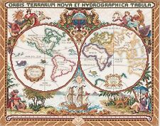 Janlynn Cross Stitch Kit, 15-Inch by 18-Inch, Olde World Map , New, Free Shippin