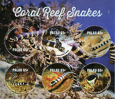 Palau 2015 MNH Coral Reef Snakes 6v M/S Reptiles Yellow-Lipped Sea Krait Stamps