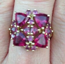 Raspberry Pink Rhodolite Garnet Cluster Flower Estate Ring 10K HSN Bling