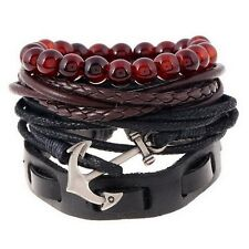 4pcs 1 Set Punk Genuine Wrap Leather Bracelets Men For Women Charm Anchor