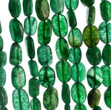 8X7-12X7MM GREEN MOSS AVENTURINE GEMSTONE GREEN PEBBLE NUGGET LOOSE BEADS 15""