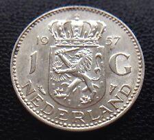 NETHERLANDS 1957 ONE 1 GULDEN .720 SILVER COIN NEDERLAND