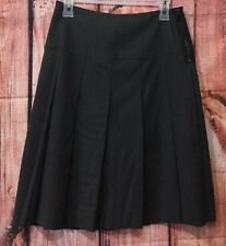 WORTH Charcoal Gray Exposed Side Zip Lined Pleat A-Line Wool Blend Skirt Size 2