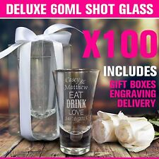 100x 60ml Engraved Shot Glasses Personalised Wedding Favours Shottie Glass Gift